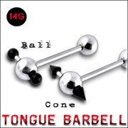 316L Tongue Barbell with UV ball and Cone (BAR205)