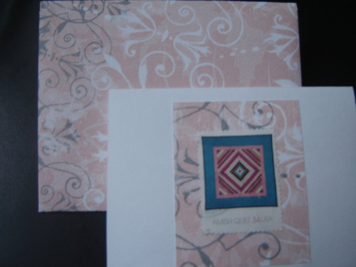 Handmade Card featuring US Stamp 3526 - 34c Sunshine and Shadow Amish Quilt