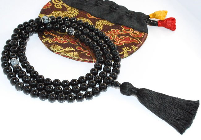 8mm Black Onyx Buddhist Mala 108 Beads (Free Bag!)