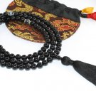 8mm Black Onyx Buddhist Mala 108 Beads (Free Bag!)