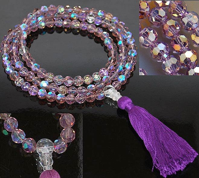 Purple Faceted Crystal Mala