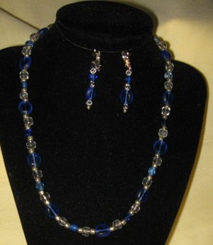 Sapphire & Clear Bead Necklace & Earrings