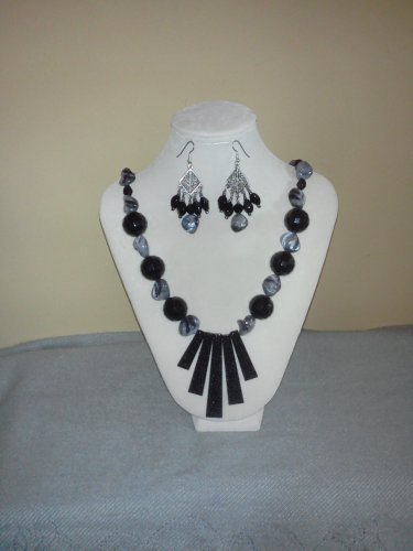 Bold in Black Necklace and Earrings Set