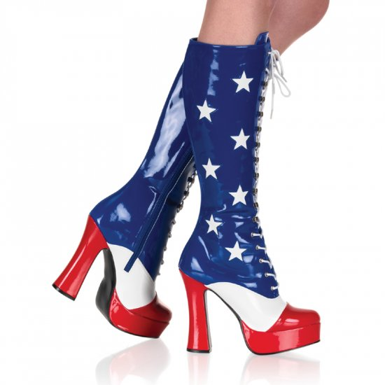 USA~ STARS~RED~ WHITE~BLUE~KNEE HIGH LACE UP PATENT BOOTS    ELECTRA-2030