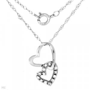 Stylish Necklace With Cubic Zirconia in Solid White Gold