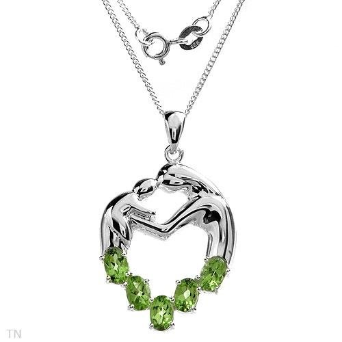 Necklace with 2.25 ctw Genuine Peridots .