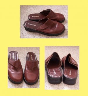 Brown Leather Mules Size 9