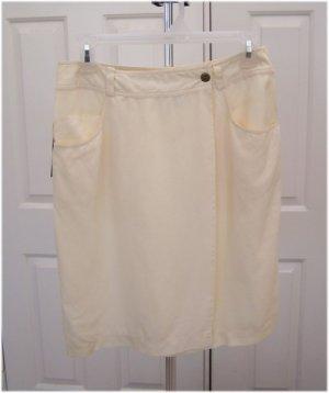 Vintage DKNY Jeans Winter White Silk Wrap Skirt Size 8