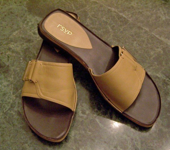 RSVP Leather Sandals Slides Tan Size 10 Ten New