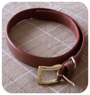 Merona Tan Brown Leather Belt Gold Buckle Small