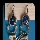 Lapis and Silver Tone Fashion Dangle Pierced Earrings - Free Shipping