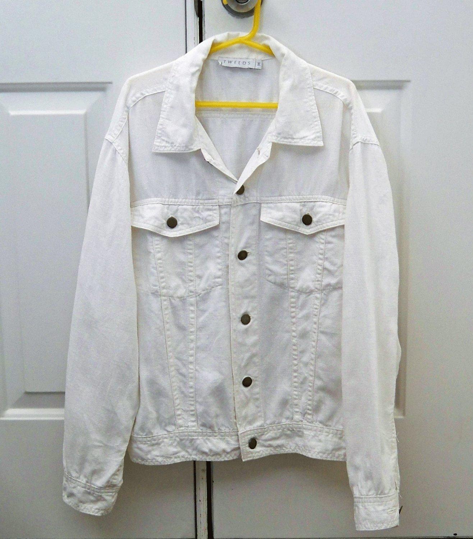 Linen Jean Jacket Tweeds Size Medium FREE SHIP