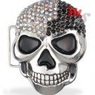 Skull Belt Buckle CZ encrusted Black and White