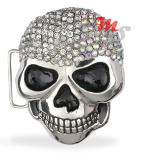 Skull Belt Buckle CZ encrusted Clear and Clear AB