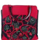 Silk Textured Vines Tote handbag Red