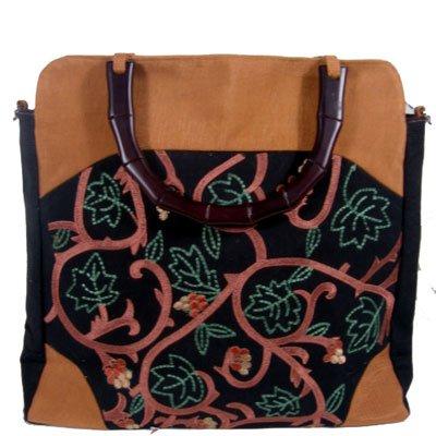Silk Textured Vines Tote handbag Sienna