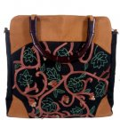 Silk Textured Vines Tote handbag Sienna