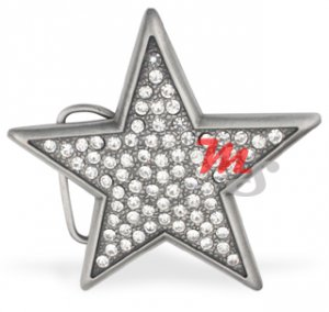 Brushed Chrome Star Belt Buckle encrusted with clear CZ