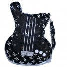 Black Guitar Shaped Purse With Silver Skull and Crossbones