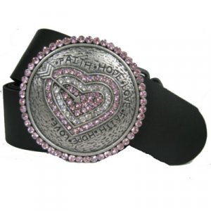 Round Belt Buckle Faith Hope Love Pink/Clear CZ