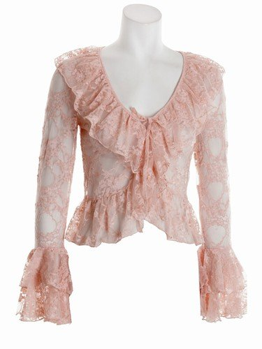 Peach Lace Shrug with Bell Sleeves