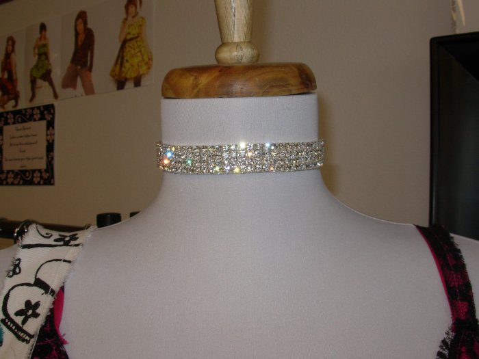 Four line Stretch Rhinestone Necklace Silver Plated
