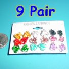 Nine Pack Rose Earrings