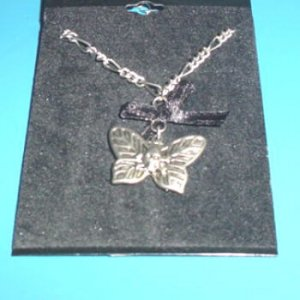 Skull Butterfly Necklace with Black Bow