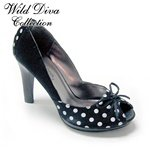 Wild Diva Satin Black with White Polk Dot Peep Toe Pump sz 6