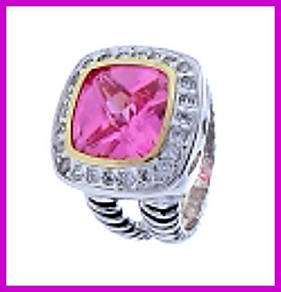 Beautiful Ring With  Pink CZ Surrounded by Pave