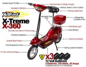 Red  X-Treme Scooters X-360 36 Volt Electric Scooter