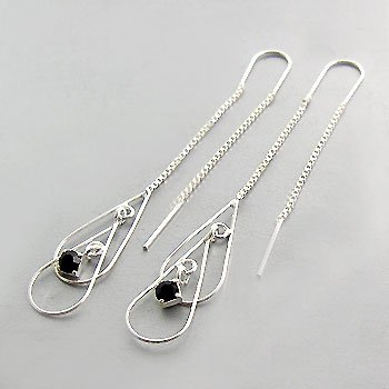 925  Silver with White Black CZ Earring