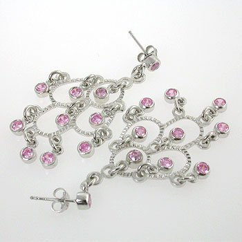925 Silver Earring with Pink CZ