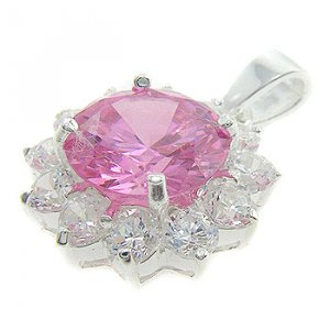 925  Silver With Pink CZ & White CZ  Pendant NEW
