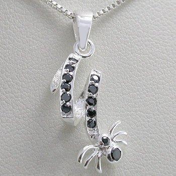 925 Sterling Silver Black Sapphire  CZ  Pendant