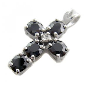 925 Sterling Silver With Black Sapphire & White CZ Pendant