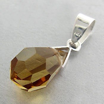 925 Sterling Silver With Citrine CZ Pendant