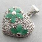 925 Sterling Silver With Genuine Emerald Pendant