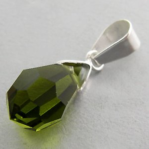925 Sterling Silver With Green Tourmaline CZ Pendant