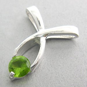 925 Sterling Silver With Peridot CZ Pendant