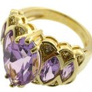 14K French Gold plated 2 Micron amethyst Ring size 6