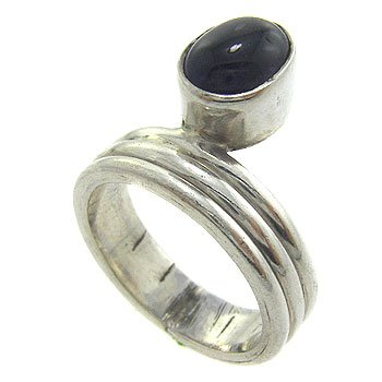 925  Sterling  Silver With Genuine Amethyst  Cabochon Ring size 9
