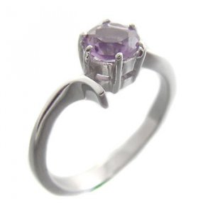 925 Sterling Silver With Genuine Amethyst Ring size 7