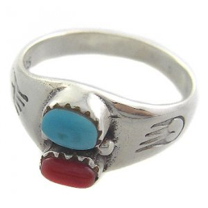 925 Sterling Silver With Genuine Carnelian & Turquoise Ring size 7