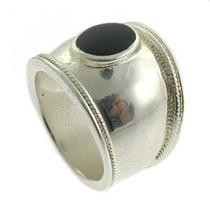 Genuine Black Onyx  With  925  Sterling  Silver Ring size 6
