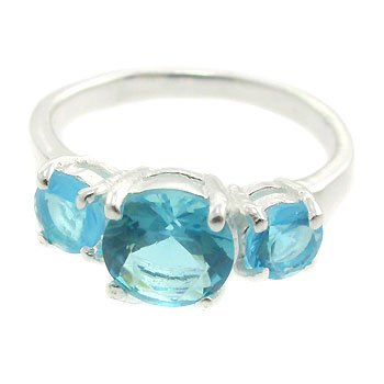 925  Silver with Blue Topaz CZ  Ring size 8