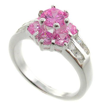 925  Silver with Pink Sapphire, White CZ Ring size 8