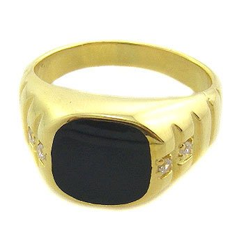 925  Silver  Gold plated Black Enamel , White  CZ Mens Ring size 14