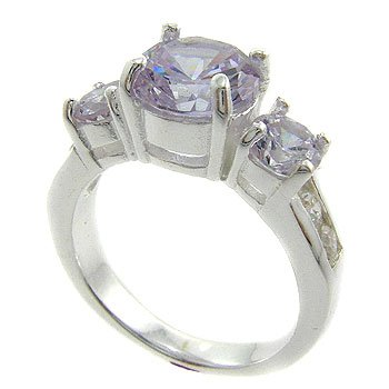 925  Silver with Tanzanite, White CZ  Ring size 8