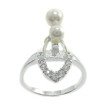 925 Sterling Silver White CZ & Pearl Ring size 7